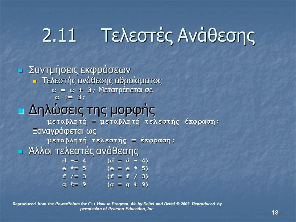 18 2.11Τελεστές Ανάθεσης Συντμήσεις εκφράσεων Συντμήσεις εκφράσεων Τελεστής ανάθεσης αθροίσματος Τελεστής ανάθεσης αθροίσματος c = c + 3; Μετατρέπεται σε c += 3; c = c + 3; Μετατρέπεται σε c += 3; Δηλώσεις της μορφής Δηλώσεις της μορφής μεταβλητή = μεταβλητή τελεστής έκφραση; Ξαναγράφεται ως μεταβλητή τελεστής = έκφραση; Άλλοι τελεστές ανάθεσης Άλλοι τελεστές ανάθεσης d -= 4 (d = d - 4) e *= 5 (e = e * 5) f /= 3 (f = f / 3) g %= 9 (g = g % 9) Reproduced from the PowerPoints for C++ How to Program, 4/e by Deitel and Deitel © 2003.
