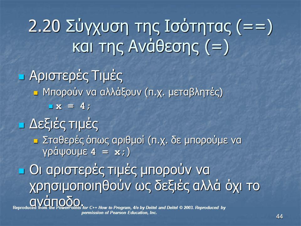 44 2.20 Σύγχυση της Ισότητας (==) και της Ανάθεσης (=) Αριστερές Τιμές Αριστερές Τιμές Μπορούν να αλλάξουν (π.χ.