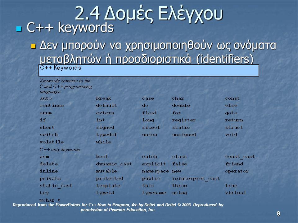 9 2.4Δομές Ελέγχου C++ keywords C++ keywords Δεν μπορούν να χρησιμοποιηθούν ως ονόματα μεταβλητών ή προσδιοριστικά (identifiers) Δεν μπορούν να χρησιμοποιηθούν ως ονόματα μεταβλητών ή προσδιοριστικά (identifiers) Reproduced from the PowerPoints for C++ How to Program, 4/e by Deitel and Deitel © 2003.