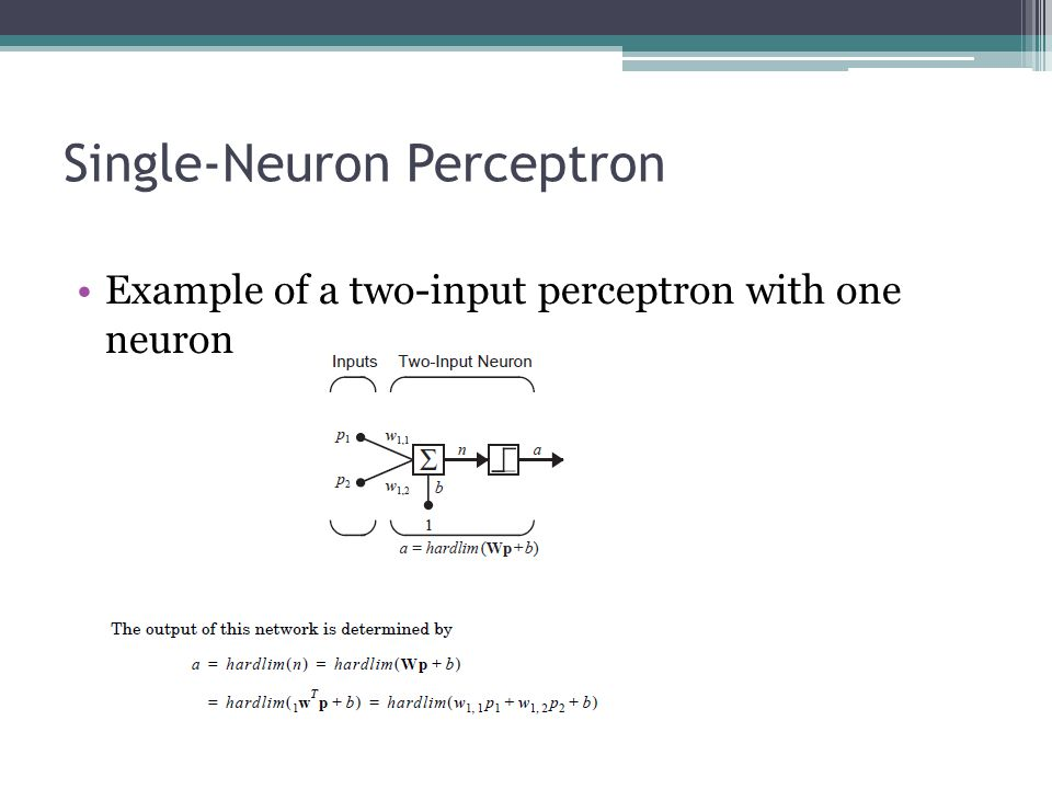 Single-Neuron Perceptron Example of a two-input perceptron with one neuron