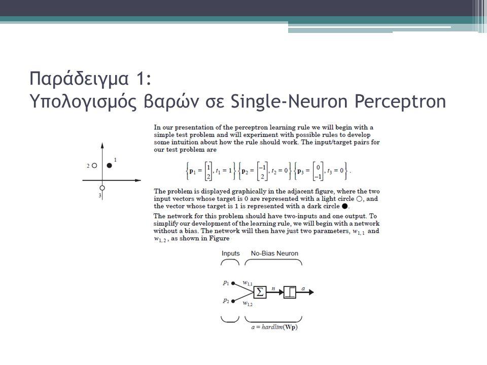 Παράδειγμα 1: Υπολογισμός βαρών σε Single-Neuron Perceptron