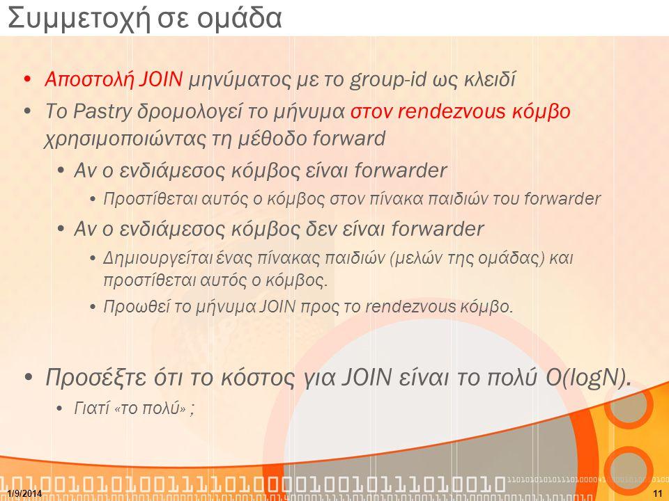 Συμμετοχή σε ομάδα Αποστολή JOIN μηνύματος με το group-id ως κλειδί Το Pastry δρομολογεί το μήνυμα στον rendezvous κόμβο χρησιμοποιώντας τη μέθοδο forward Αν ο ενδιάμεσος κόμβος είναι forwarder Προστίθεται αυτός ο κόμβος στον πίνακα παιδιών του forwarder Αν ο ενδιάμεσος κόμβος δεν είναι forwarder Δημιουργείται ένας πίνακας παιδιών (μελών της ομάδας) και προστίθεται αυτός ο κόμβος.