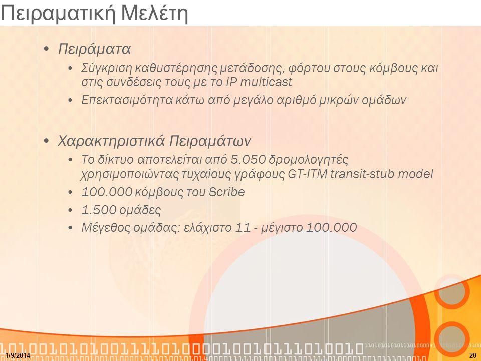 Πειραματική Μελέτη Πειράματα Σύγκριση καθυστέρησης μετάδοσης, φόρτου στους κόμβους και στις συνδέσεις τους με το IP multicast Επεκτασιμότητα κάτω από μεγάλο αριθμό μικρών ομάδων Χαρακτηριστικά Πειραμάτων Το δίκτυο αποτελείται από 5.050 δρομολογητές χρησιμοποιώντας τυχαίους γράφους GT-ΙΤΜ transit-stub model 100.000 κόμβους του Scribe 1.500 ομάδες Μέγεθος ομάδας: ελάχιστο 11 - μέγιστο 100.000 1/9/201420