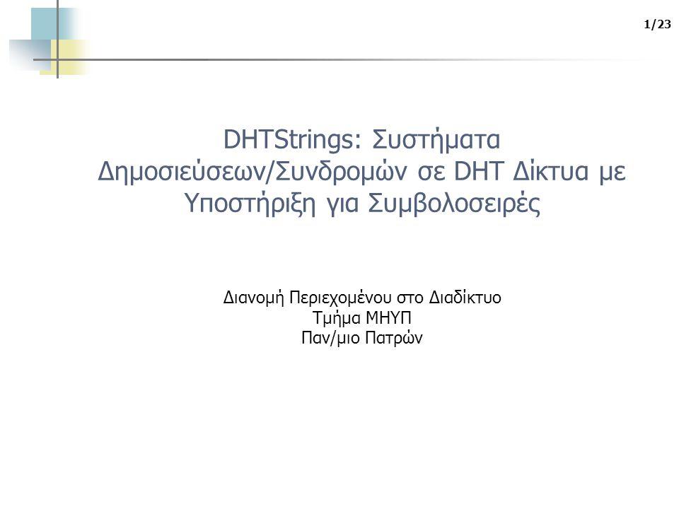 1/23 DHTStrings: Συστήματα Δημοσιεύσεων/Συνδρομών σε DHT Δίκτυα με Υποστήριξη για Συμβολοσειρές Διανομή Περιεχομένου στο Διαδίκτυο Τμήμα ΜΗΥΠ Παν/μιο Πατρών