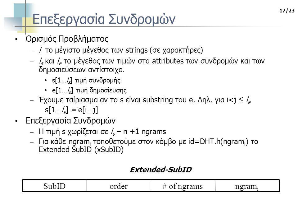 17/23 Επεξεργασία Συνδρομών Ορισμός Προβλήματος – l το μέγιστο μέγεθος των strings (σε χαρακτήρες) – l s και l e το μέγεθος των τιμών στα attributes των συνδρομών και των δημοσιεύσεων αντίστοιχα.