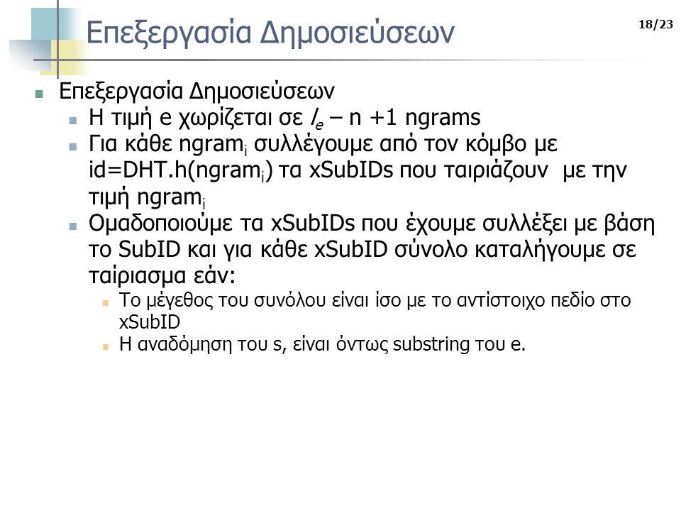 18/23 Επεξεργασία Δημοσιεύσεων Η τιμή e χωρίζεται σε l e – n +1 ngrams Για κάθε ngram i συλλέγουμε από τον κόμβο με id=DHT.h(ngram i ) τα xSubIDs που ταιριάζουν με την τιμή ngram i Ομαδοποιούμε τα xSubIDs που έχουμε συλλέξει με βάση το SubID και για κάθε xSubID σύνολο καταλήγουμε σε ταίριασμα εάν: Το μέγεθος του συνόλου είναι ίσο με το αντίστοιχο πεδίο στο xSubID Η αναδόμηση του s, είναι όντως substring του e.