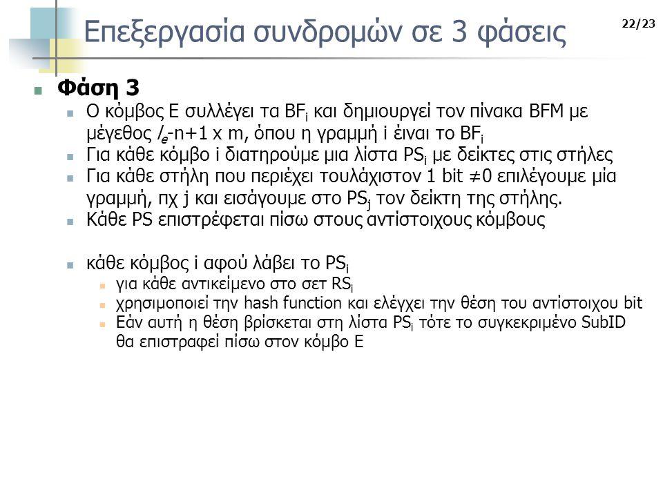 22/23 Επεξεργασία συνδρομών σε 3 φάσεις Φάση 3 Ο κόμβος Ε συλλέγει τα BF i και δημιουργεί τον πίνακα BFM με μέγεθος l e -n+1 x m, όπου η γραμμή i έιναι το BF i Για κάθε κόμβο i διατηρούμε μια λίστα PS i με δείκτες στις στήλες Για κάθε στήλη που περιέχει τουλάχιστον 1 bit ≠0 επιλέγουμε μία γραμμή, πχ j και εισάγουμε στο PS j τον δείκτη της στήλης.