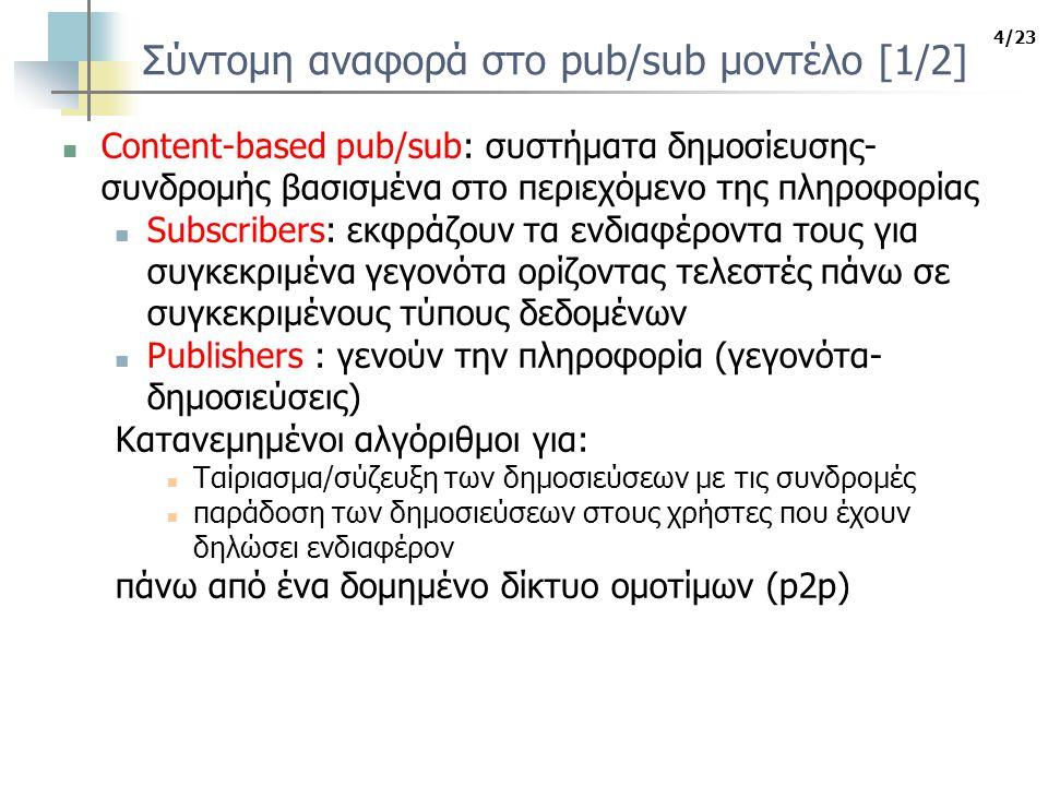 4/23 Σύντομη αναφορά στο pub/sub μοντέλο [1/2] Content-based pub/sub: συστήματα δημοσίευσης- συνδρομής βασισμένα στο περιεχόμενο της πληροφορίας Subscribers: εκφράζουν τα ενδιαφέροντα τους για συγκεκριμένα γεγονότα ορίζοντας τελεστές πάνω σε συγκεκριμένους τύπους δεδομένων Publishers : γενούν την πληροφορία (γεγονότα- δημοσιεύσεις) Κατανεμημένοι αλγόριθμοι για: Ταίριασμα/σύζευξη των δημοσιεύσεων με τις συνδρομές παράδοση των δημοσιεύσεων στους χρήστες που έχουν δηλώσει ενδιαφέρον πάνω από ένα δομημένο δίκτυο ομοτίμων (p2p)