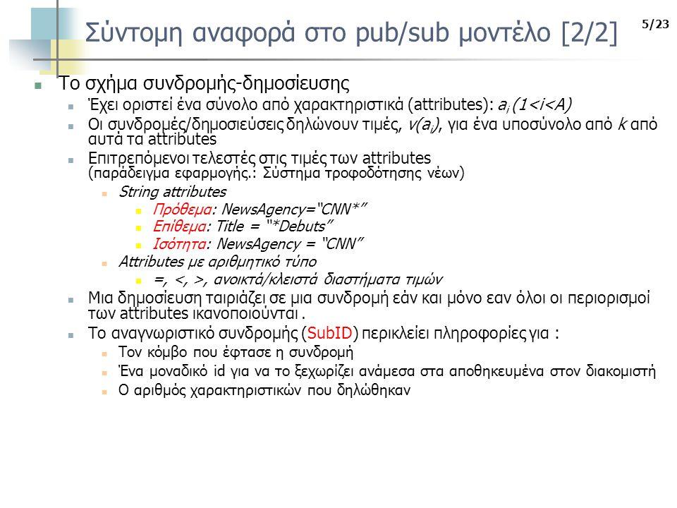 5/23 Σύντομη αναφορά στο pub/sub μοντέλο [2/2] Το σχήμα συνδρομής-δημοσίευσης Έχει οριστεί ένα σύνολο από χαρακτηριστικά (attributes): a i (1<i<A) Οι συνδρομές/δημοσιεύσεις δηλώνουν τιμές, v(a i ), για ένα υποσύνολο από k από αυτά τα attributes Επιτρεπόμενοι τελεστές στις τιμές των attributes (παράδειγμα εφαρμογής.: Σύστημα τροφοδότησης νέων) String attributes Πρόθεμα: NewsAgency= CNN* Επίθεμα: Title = *Debuts Ισότητα: NewsAgency = CNN Attributes με αριθμητικό τύπο =,, ανοικτά/κλειστά διαστήματα τιμών Μια δημοσίευση ταιριάζει σε μια συνδρομή εάν και μόνο εαν όλοι οι περιορισμοί των attributes ικανοποιούνται.