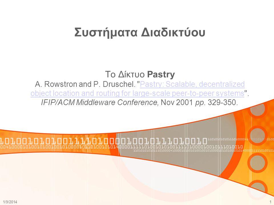 Συστήματα Διαδικτύου To Δίκτυο Pastry A. Rowstron and P. Druschel.