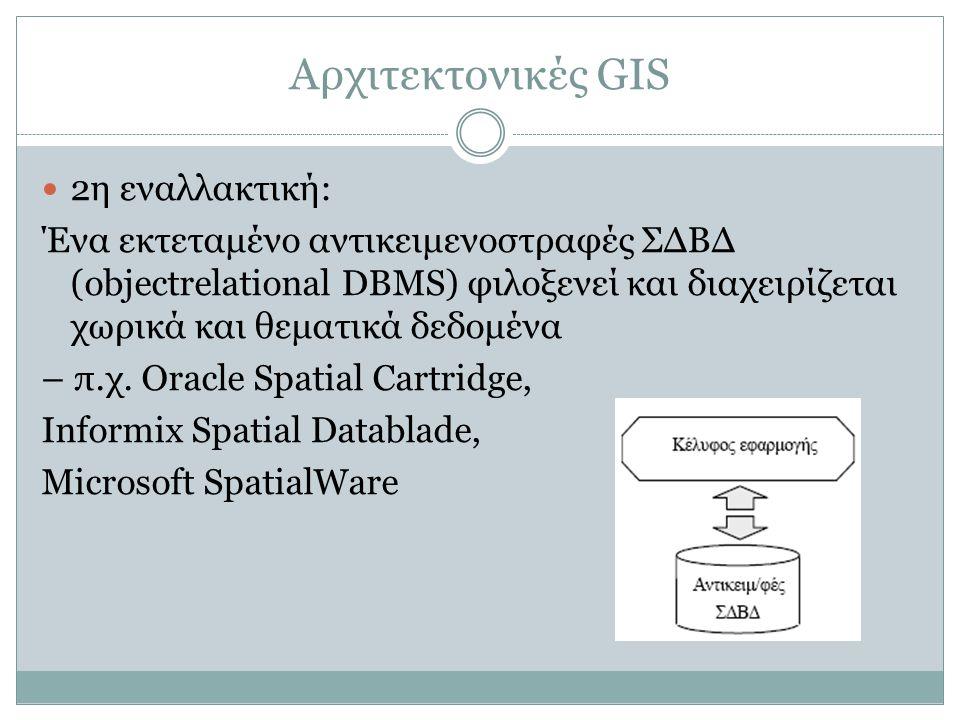 Αρχιτεκτονικές GIS 2η εναλλακτική: Ένα εκτεταμένο αντικειμενοστραφές ΣΔΒΔ (objectrelational DBMS) φιλοξενεί και διαχειρίζεται χωρικά και θεματικά δεδο