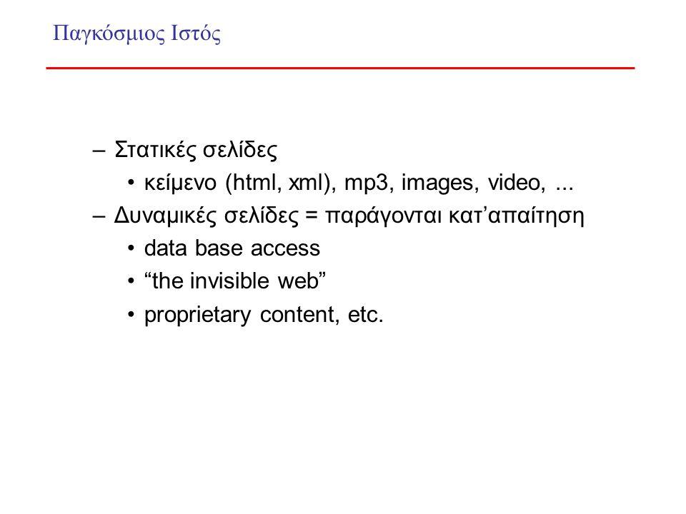 –Στατικές σελίδες κείμενο (html, xml), mp3, images, video,...