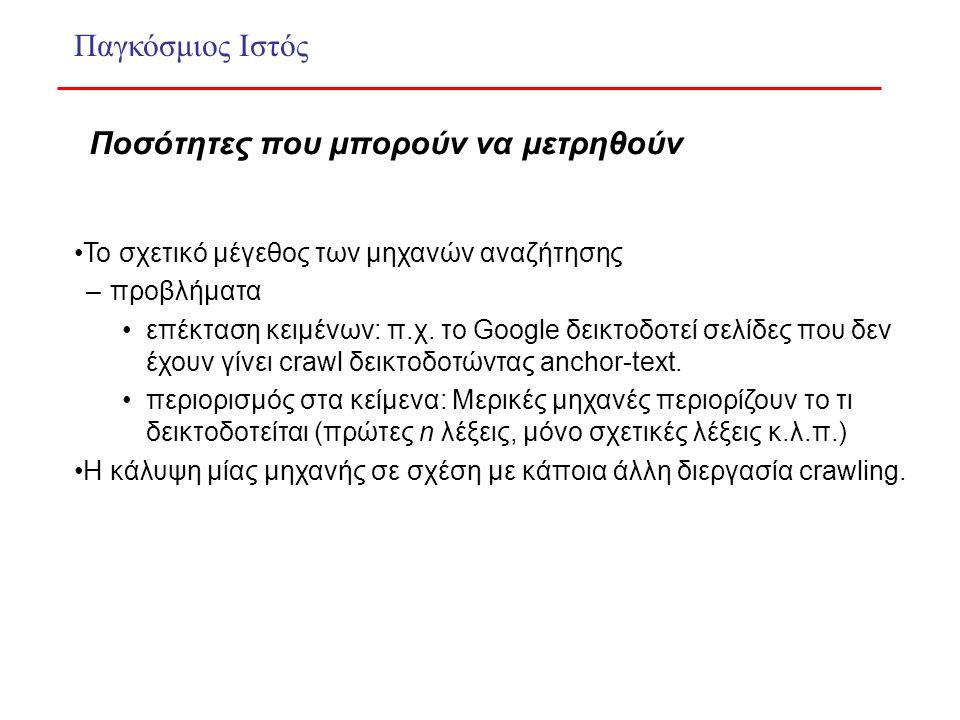 Το σχετικό μέγεθος των μηχανών αναζήτησης –προβλήματα επέκταση κειμένων: π.χ.