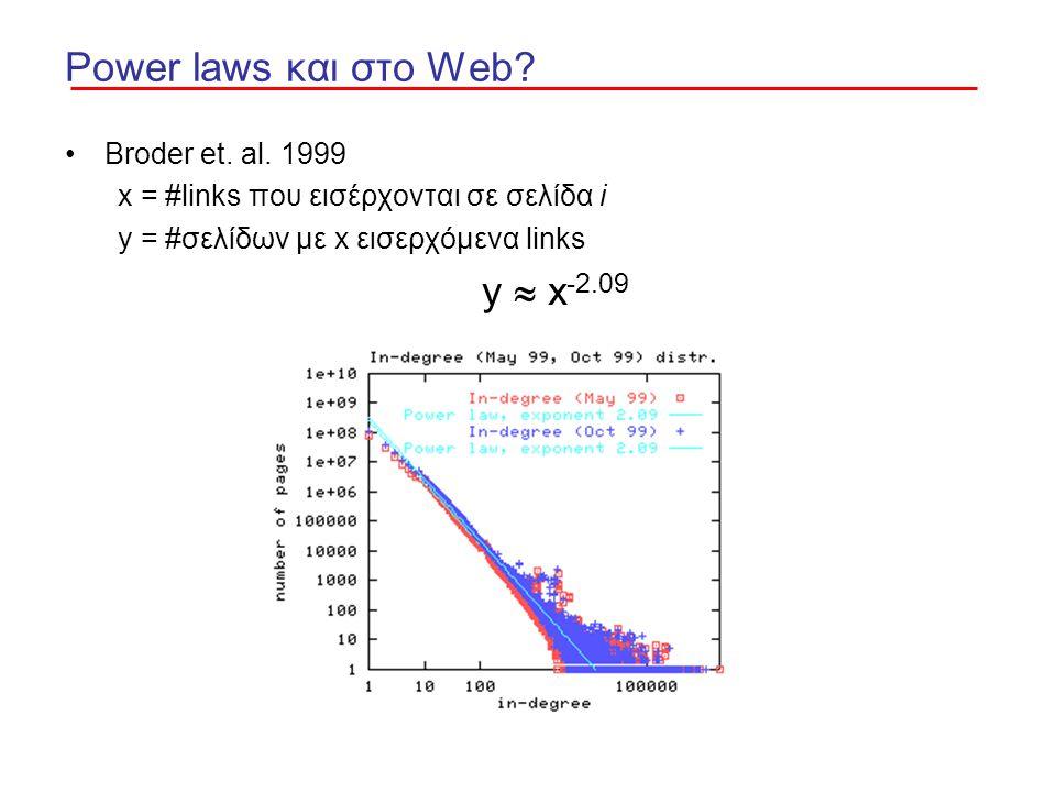 Power laws και στο Web? Broder et. al. 1999 x = #links που εισέρχονται σε σελίδα i y = #σελίδων με x εισερχόμενα links y  x -2.09