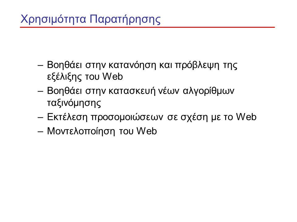 Χρησιμότητα Παρατήρησης –Βοηθάει στην κατανόηση και πρόβλεψη της εξέλιξης του Web –Βοηθάει στην κατασκευή νέων αλγορίθμων ταξινόμησης –Εκτέλεση προσομοιώσεων σε σχέση με το Web –Μοντελοποίηση του Web
