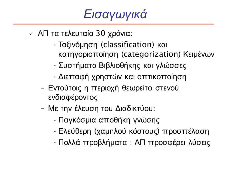 ΑΠ τα τελευταία 30 χρόνια : Ταξινόμηση (classification) και κατηγοριο π οίηση (categorization) Κειμένων Συστήματα Βιβλιοθήκης και γλώσσες Διε π αφή χρηστών και ο π τικο π οίηση – Εντούτοις η π εριοχή θεωρείτο στενού ενδιαφέροντος – Με την έλευση του Διαδικτύου : Παγκόσμια α π οθήκη γνώσης Ελεύθερη ( χαμηλού κόστους ) π ροσ π έλαση Πολλά π ροβλήματα : ΑΠ π ροσφέρει λύσεις
