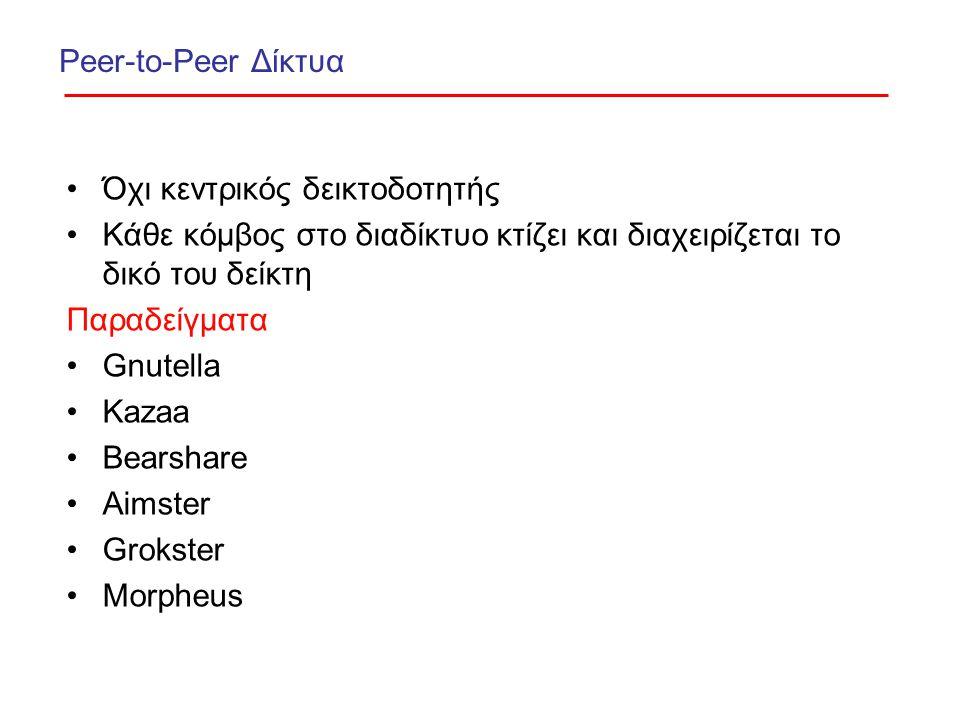 Peer-to-Peer Δίκτυα Όχι κεντρικός δεικτοδοτητής Κάθε κόμβος στο διαδίκτυο κτίζει και διαχειρίζεται το δικό του δείκτη Παραδείγματα Gnutella Kazaa Bearshare Aimster Grokster Morpheus