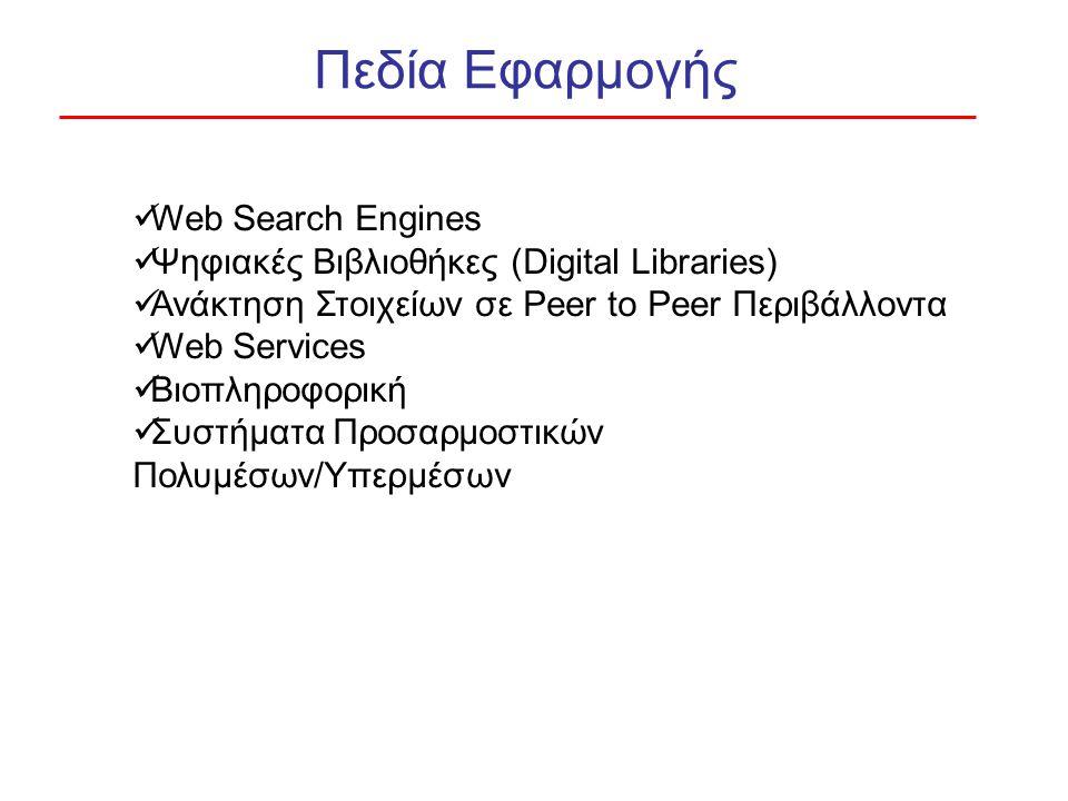Πεδία Εφαρμογής Web Search Engines Ψηφιακές Βιβλιοθήκες (Digital Libraries) Ανάκτηση Στοιχείων σε Peer to Peer Περιβάλλοντα Web Services Βιοπληροφορική Συστήματα Προσαρμοστικών Πολυμέσων/Υπερμέσων