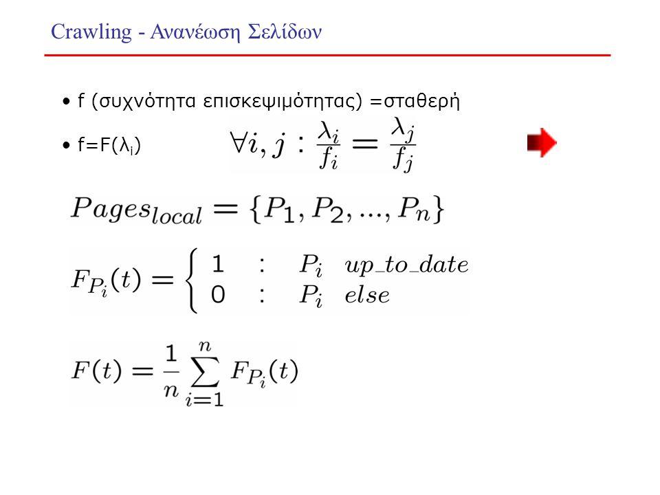 Crawling - Ανανέωση Σελίδων f (συχνότητα επισκεψιμότητας) =σταθερή f=F(λ i )