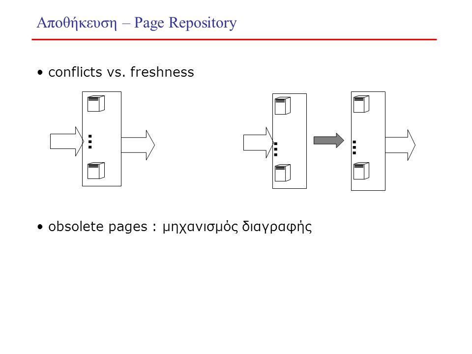 Αποθήκευση – Page Repository conflicts vs. freshness … … … obsolete pages : μηχανισμός διαγραφής