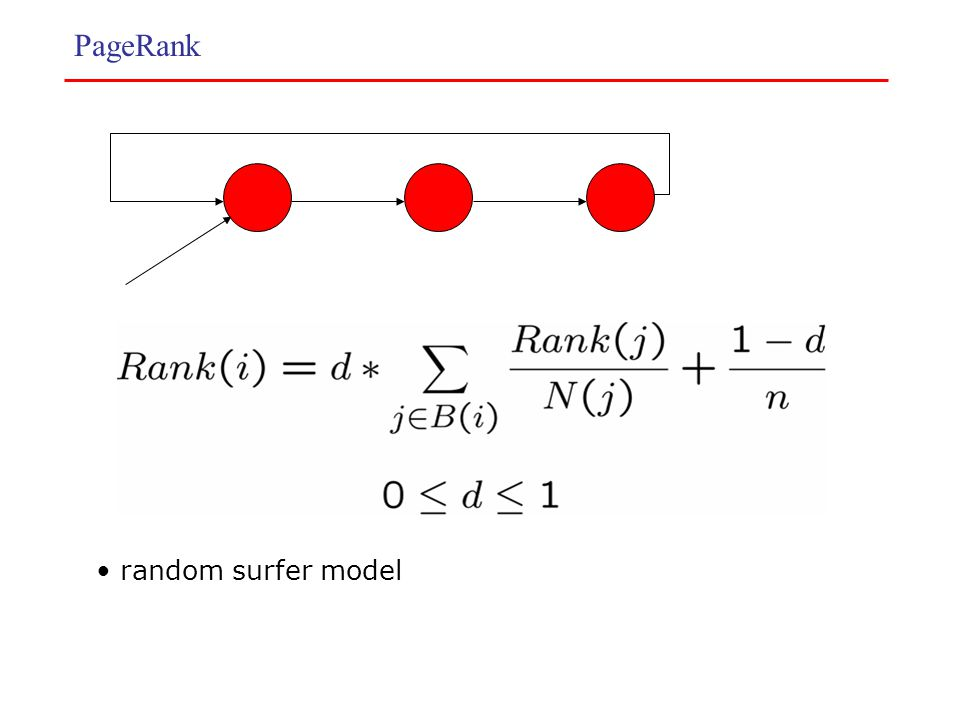 PageRank random surfer model