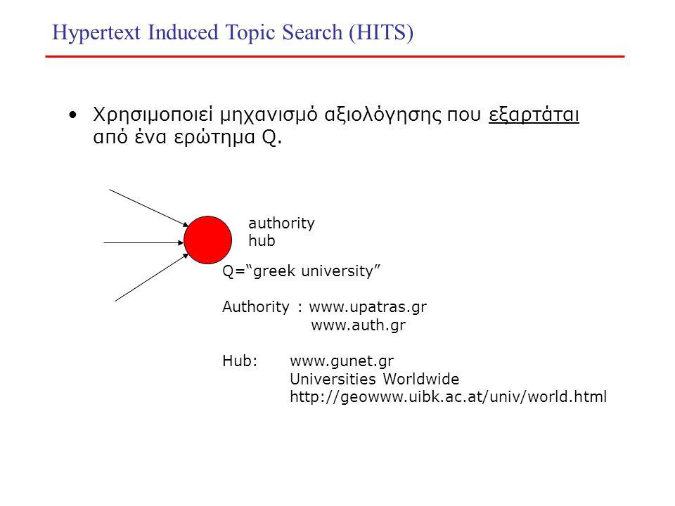 "Hypertext Induced Topic Search (HITS) Χρησιμοποιεί μηχανισμό αξιολόγησης που εξαρτάται από ένα ερώτημα Q. authority hub Q=""greek university"" Authority"
