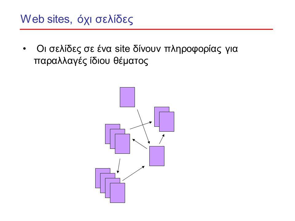 Web sites, όχι σελίδες Οι σελίδες σε ένα site δίνουν πληροφορίας για παραλλαγές ίδιου θέματος