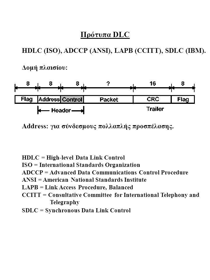 Πρότυπα DLC HDLC (ISO), ADCCP (ANSI), LAPB (CCITT), SDLC (IBM). Δομή πλαισίου: Address: για σύνδεσμους πολλαπλής προσπέλασης. HDLC = High-level Data L
