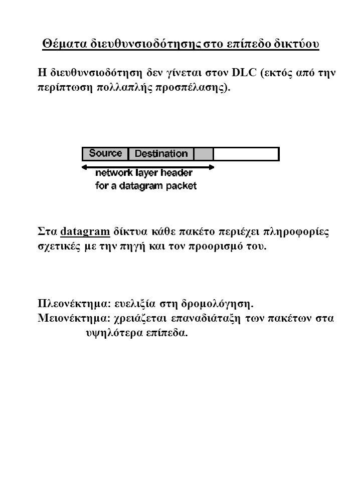Θέματα διευθυνσιοδότησης στο επίπεδο δικτύου Η διευθυνσιοδότηση δεν γίνεται στον DLC (εκτός από την περίπτωση πολλαπλής προσπέλασης). Στα datagram δίκ