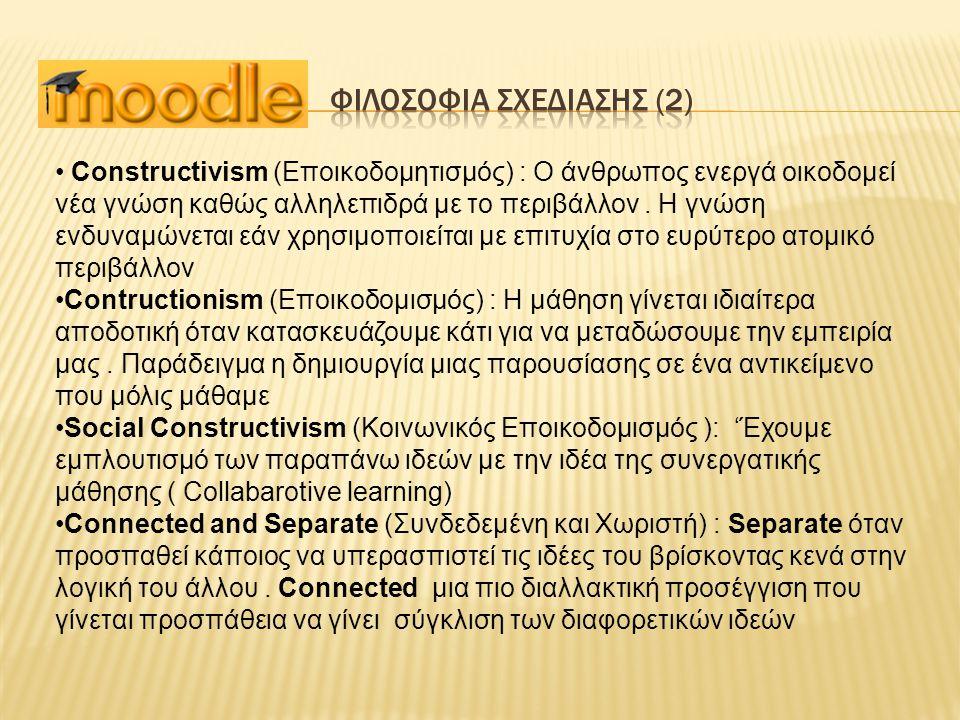 Constructivism (Εποικοδομητισμός) : Ο άνθρωπος ενεργά οικοδομεί νέα γνώση καθώς αλληλεπιδρά με το περιβάλλον. Η γνώση ενδυναμώνεται εάν χρησιμοποιείτα