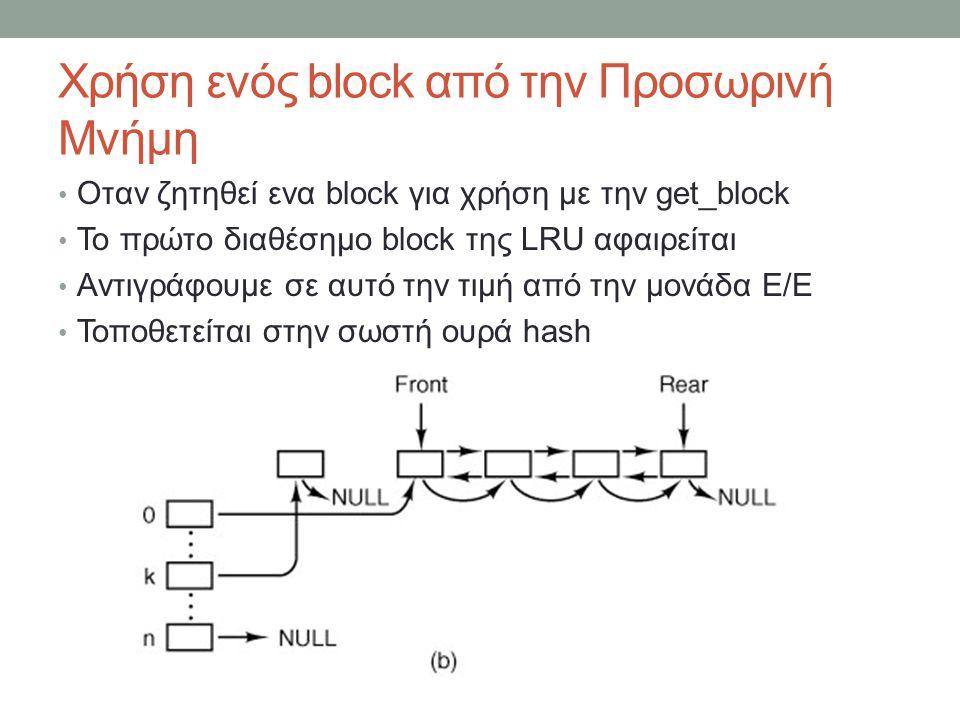 Χρήση ενός block από την Προσωρινή Μνήμη Οταν ζητηθεί ενα block για χρήση με την get_block Το πρώτο διαθέσημο block της LRU αφαιρείται Αντιγράφουμε σε αυτό την τιμή από την μονάδα Ε/Ε Τοποθετείται στην σωστή ουρά hash
