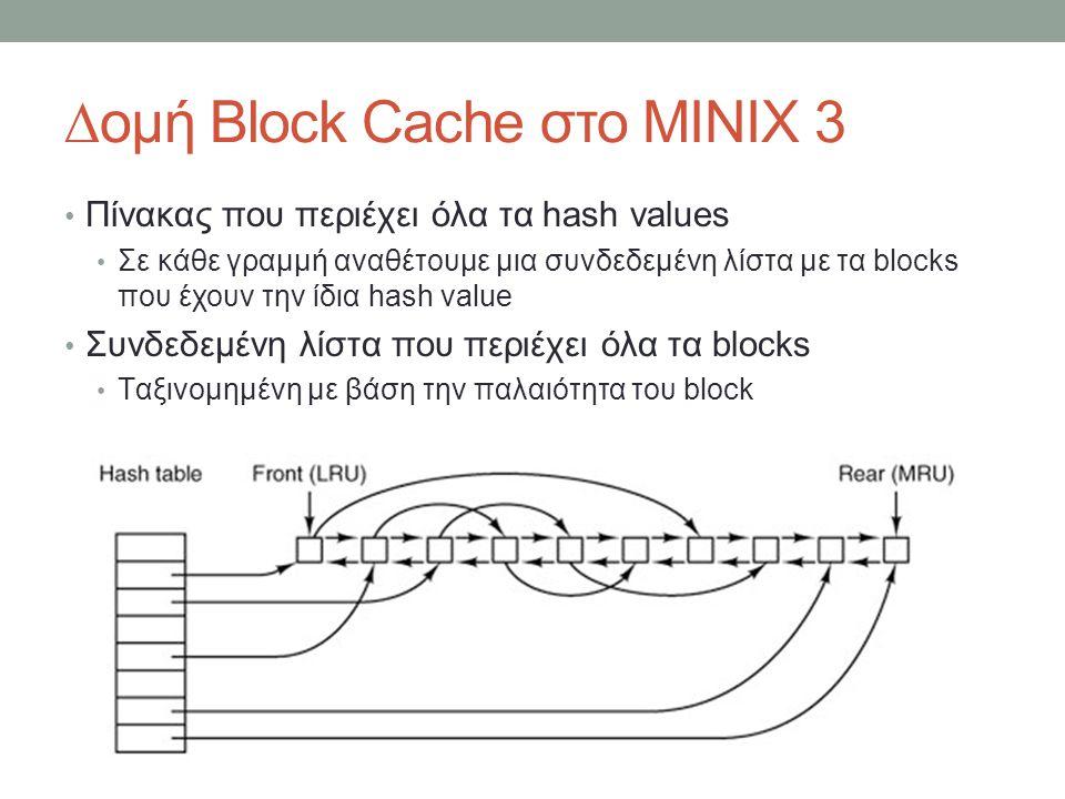 ∆ομή Block Cache στο MINIX 3 Πίνακας που περιέχει όλα τα hash values Σε κάθε γραμμή αναθέτουμε μια συνδεδεμένη λίστα με τα blocks που έχουν την ίδια hash value Συνδεδεμένη λίστα που περιέχει όλα τα blocks Ταξινομημένη με βάση την παλαιότητα του block