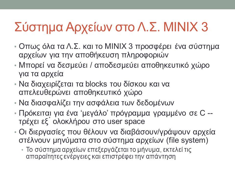 Σύστημα Αρχείων στο Λ.Σ. MINIX 3 Οπως όλα τα Λ.Σ.