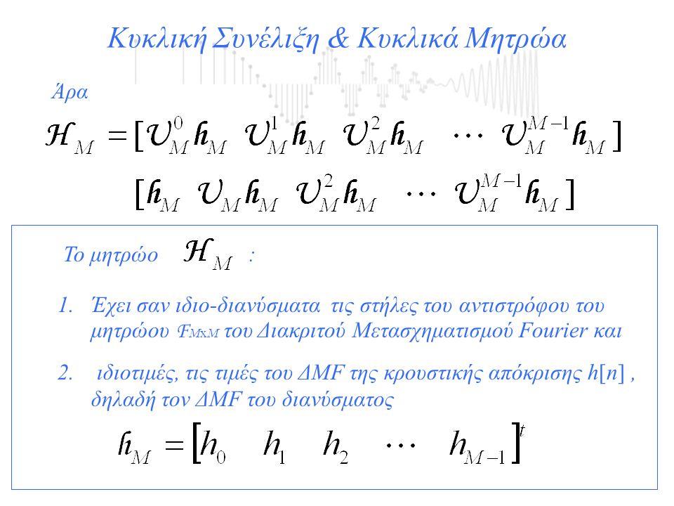 Άρα Κυκλική Συνέλιξη & Κυκλικά Μητρώα Το μητρώο : 1.Έχει σαν ιδιο-διανύσματα τις στήλες του αντιστρόφου του μητρώου F ΜxΜ του Διακριτού Μετασχηματισμο