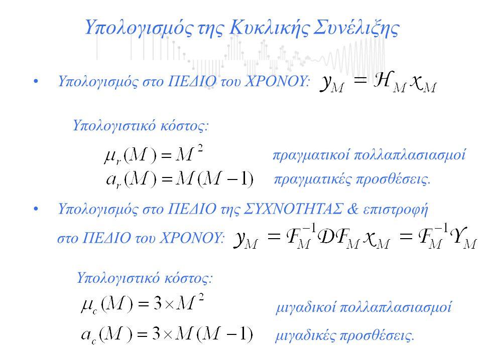 μιγαδικές προσθέσεις. πραγματικές προσθέσεις. Υπολογισμός της Κυκλικής Συνέλιξης Υπολογισμός στο ΠΕΔΙΟ του ΧΡΟΝΟΥ: Υπολογιστικό κόστος: πραγματικοί πο