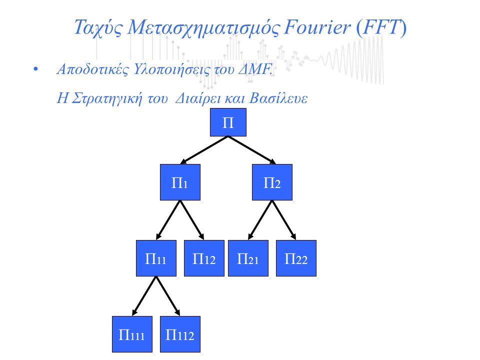 Ταχύς Μετασχηματισμός Fourier (FFT) Αποδοτικές Υλοποιήσεις του ΔΜF. Η Στρατηγική του Διαίρει και Βασίλευε Π Π1Π1 Π2Π2 Π 11 Π 12 Π 21 Π 22 Π 111 Π 112