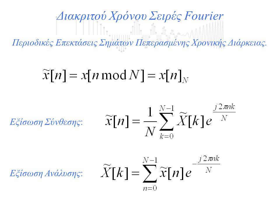 Περιοδικές Επεκτάσεις Σημάτων Πεπερασμένης Χρονικής Διάρκειας. Διακριτού Χρόνου Σειρές Fourier Εξίσωση Σύνθεσης: Εξίσωση Ανάλυσης: