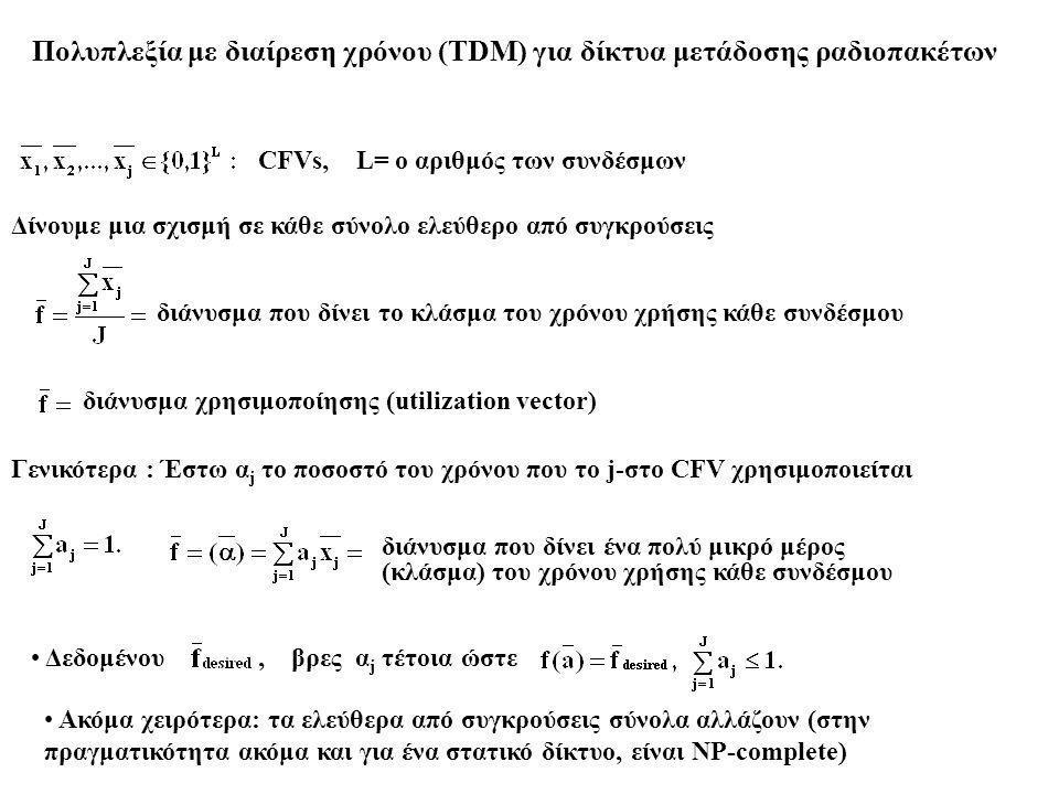 Πολυπλεξία με διαίρεση χρόνου (TDM) για δίκτυα μετάδοσης ραδιοπακέτων CFVs, L= ο αριθμός των συνδέσμων Δίνουμε μια σχισμή σε κάθε σύνολο ελεύθερο από συγκρούσεις διάνυσμα που δίνει το κλάσμα του χρόνου χρήσης κάθε συνδέσμου διάνυσμα χρησιμοποίησης (utilization vector) Γενικότερα : Έστω α j το ποσοστό του χρόνου που το j-στο CFV χρησιμοποιείται διάνυσμα που δίνει ένα πολύ μικρό μέρος (κλάσμα) του χρόνου χρήσης κάθε συνδέσμου Δεδομένου, βρες α j τέτοια ώστε Aκόμα χειρότερα: τα ελεύθερα από συγκρούσεις σύνολα αλλάζουν (στην πραγματικότητα ακόμα και για ένα στατικό δίκτυο, είναι NP-complete)