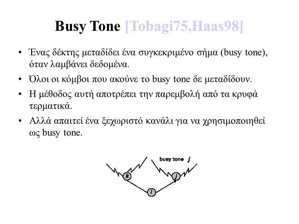 Busy Tone [Tobagi75,Haas98] Ένας δέκτης μεταδίδει ένα συγκεκριμένο σήμα (busy tone), όταν λαμβάνει δεδομένα.