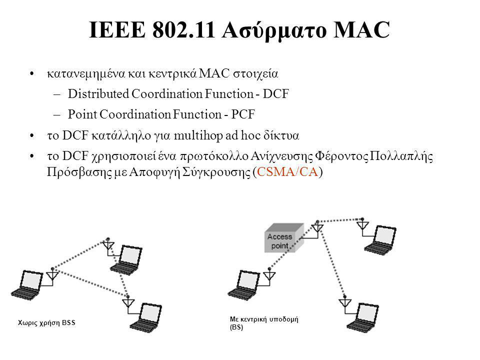 IEEE 802.11 Ασύρματο MAC κατανεμημένα και κεντρικά MAC στοιχεία –Distributed Coordination Function - DCF –Point Coordination Function - PCF το DCF κατ