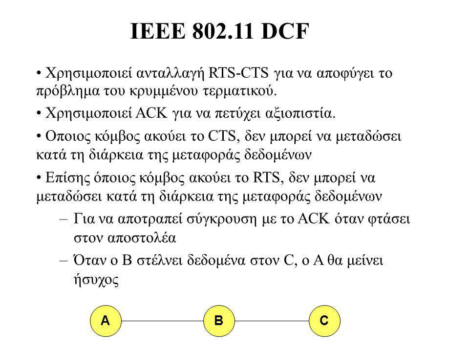 IEEE 802.11 DCF Χρησιμοποιεί ανταλλαγή RTS-CTS για να αποφύγει το πρόβλημα του κρυμμένου τερματικού.