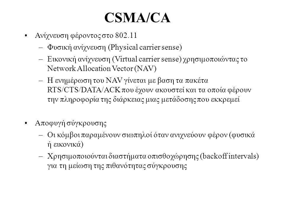 CSMA/CA Ανίχνευση φέροντος στο 802.11 –Φυσική ανίχνευση (Physical carrier sense) –Εικονική ανίχνευση (Virtual carrier sense) χρησιμοποιώντας το Network Allocation Vector (NAV) –Η ενημέρωση του NAV γίνεται με βαση τα πακέτα RTS/CTS/DATA/ACK που έχουν ακουστεί και τα οποία φέρουν την πληροφορία της διάρκειας μιας μετάδοσης που εκκρεμεί Αποφυγή σύγκρουσης –Οι κόμβοι παραμένουν σιωπηλοί όταν ανιχνεύουν φέρoν (φυσικά ή εικονικά) –Χρησιμοποιούνται διαστήματα οπισθοχώρησης (backoff intervals) για τη μείωση της πιθανότητας σύγκρουσης