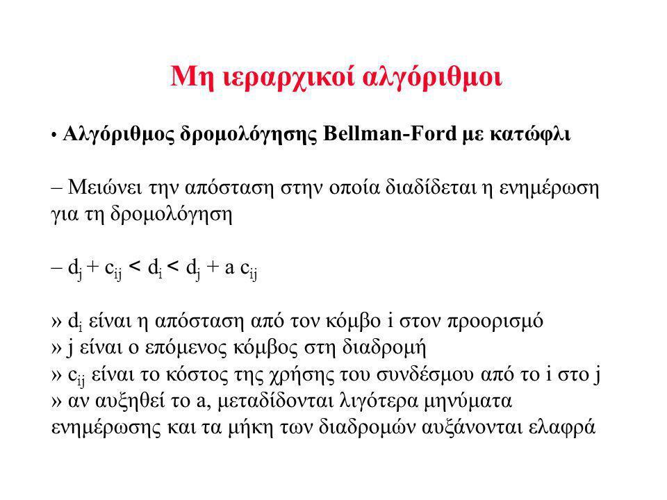 Μη ιεραρχικοί αλγόριθμοι Αλγόριθμος δρομολόγησης Bellman-Ford με κατώφλι – Μειώνει την απόσταση στην οποία διαδίδεται η ενημέρωση για τη δρομολόγηση – d j + c ij < d i < d j + a c ij » d i είναι η απόσταση από τον κόμβο i στον προορισμό » j είναι ο επόμενος κόμβος στη διαδρομή » c ij είναι το κόστος της χρήσης του συνδέσμου από το i στο j » αν αυξηθεί το a, μεταδίδονται λιγότερα μηνύματα ενημέρωσης και τα μήκη των διαδρομών αυξάνονται ελαφρά