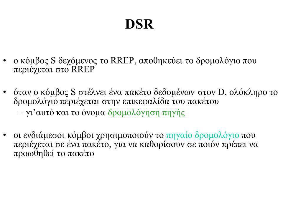 DSR ο κόμβος S δεχόμενος το RREP, αποθηκεύει το δρομολόγιο που περιέχεται στο RREP όταν ο κόμβος S στέλνει ένα πακέτο δεδομένων στον D, ολόκληρο το δρομολόγιο περιέχεται στην επικεφαλίδα του πακέτου –γι'αυτό και το όνομα δρομολόγηση πηγής οι ενδιάμεσοι κόμβοι χρησιμοποιούν το πηγαίο δρομολόγιο που περιέχεται σε ένα πακέτο, για να καθορίσουν σε ποιόν πρέπει να προωθηθεί το πακέτο