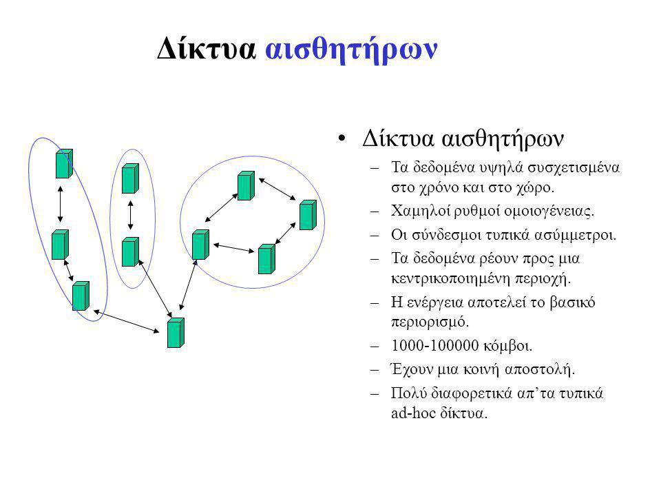 Δίκτυα αισθητήρων –Τα δεδομένα υψηλά συσχετισμένα στο χρόνο και στο χώρο.