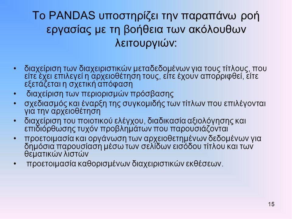 15 Το PANDAS υποστηρίζει την παραπάνω ροή εργασίας με τη βοήθεια των ακόλουθων λειτουργιών: διαχείριση των διαχειριστικών μεταδεδομένων για τους τίτλους, που είτε έχει επιλεγεί η αρχειοθέτηση τους, είτε έχουν απορριφθεί, είτε εξετάζεται η σχετική απόφαση διαχείριση των περιορισμών πρόσβασης σχεδιασμός και έναρξη της συγκομιδής των τίτλων που επιλέγονται για την αρχειοθέτηση διαχείριση του ποιοτικού ελέγχου, διαδικασία αξιολόγησης και επιδιόρθωσης τυχόν προβλημάτων που παρουσιάζονται προετοιμασία και οργάνωση των αρχειοθετημένων δεδομένων για δημόσια παρουσίαση μέσω των σελίδων εισόδου τίτλου και των θεματικών λιστών προετοιμασία καθορισμένων διαχειριστικών εκθέσεων.