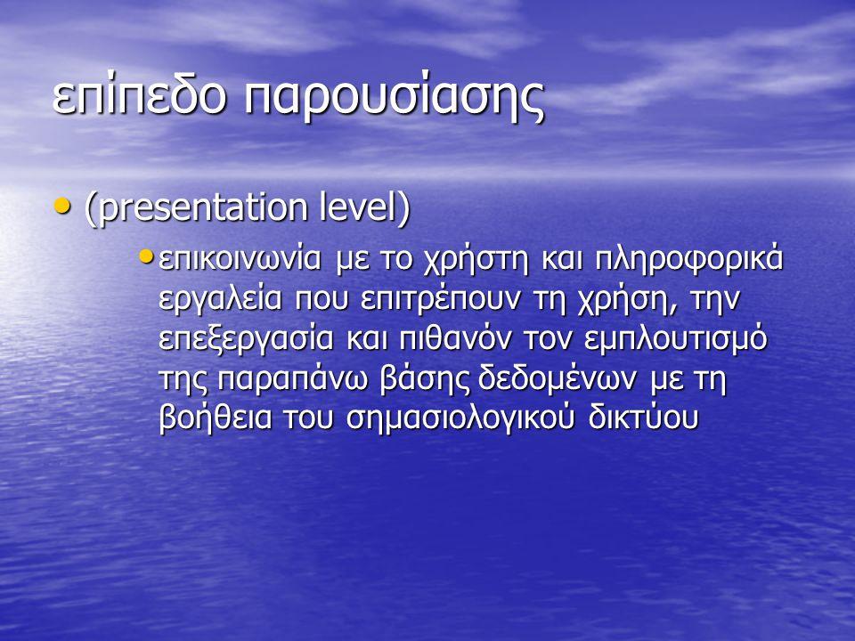 επίπεδο παρουσίασης (presentation level) (presentation level) επικοινωνία με το χρήστη και πληροφορικά εργαλεία που επιτρέπουν τη χρήση, την επεξεργασ