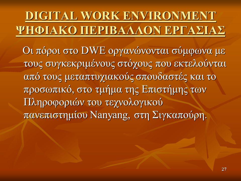 27 DIGITAL WORK ENVIRONMENT ΨΗΦΙΑΚΟ ΠΕΡΙΒΑΛΛΟΝ ΕΡΓΑΣΙΑΣ Οι πόροι στο DWE οργανώνονται σύμφωνα με τους συγκεκριμένους στόχους που εκτελούνται από τους