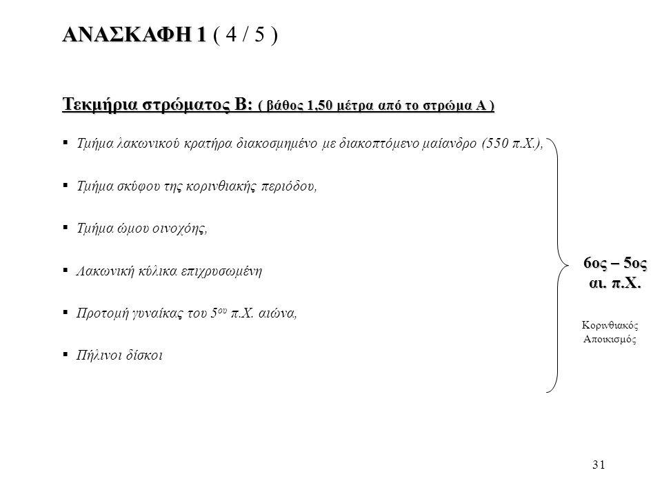 31 ΑΝΑΣΚΑΦΗ 1 ΑΝΑΣΚΑΦΗ 1 ( 4 / 5 ) Τεκμήρια στρώματος Β: ( βάθος 1,50 μέτρα από το στρώμα Α )  Τμήμα λακωνικού κρατήρα διακοσμημένο με διακοπτόμενο μ