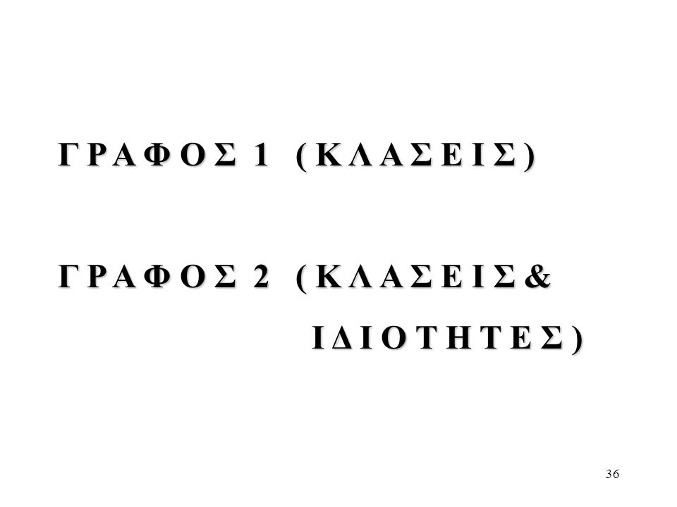 36 Γ Ρ Α Φ Ο Σ 1 ( Κ Λ Α Σ Ε Ι Σ ) Γ Ρ Α Φ Ο Σ 2 ( Κ Λ Α Σ Ε Ι Σ & Ι Δ Ι Ο Τ Η Τ Ε Σ ) Ι Δ Ι Ο Τ Η Τ Ε Σ )